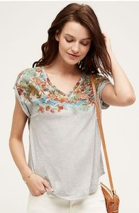 Anthropologie Grey Tshirt with Flower Print